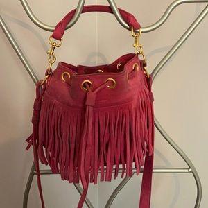 Saint Laurent Emmanual suede hot pink small bag